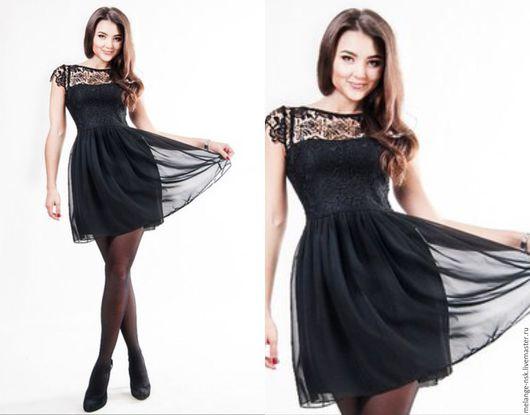Платья ручной работы. Ярмарка Мастеров - ручная работа. Купить Черное платье с кружевом. Handmade. Черный, Платье нарядное