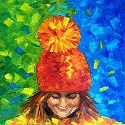 Картины ручной работы. Ярмарка Мастеров - ручная работа Любимая шапка. Картина маслом. Handmade.