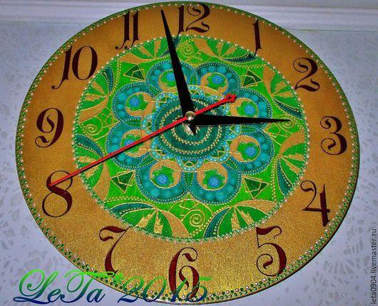 """Часы для дома ручной работы. Ярмарка Мастеров - ручная работа. Купить Часы-мандала """"Денежный колодец"""". Handmade. Учителю, колодец"""