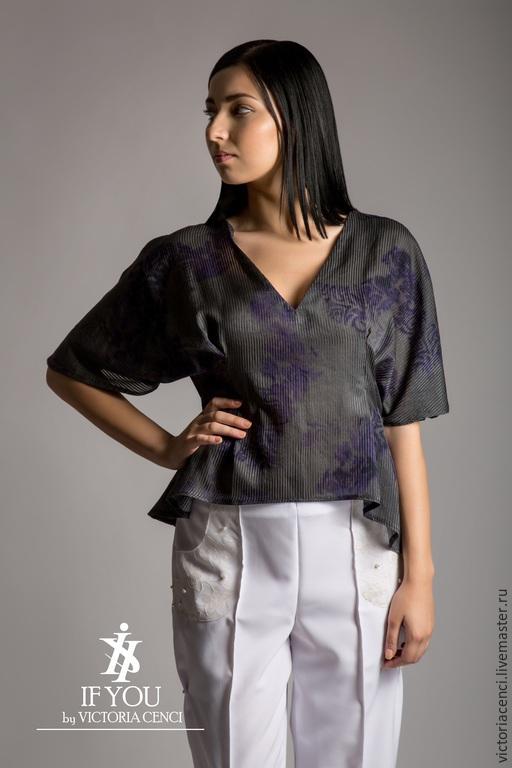 Блузки ручной работы. Ярмарка Мастеров - ручная работа. Купить Блуза - кимоно. 100% шелк. Италия. Handmade. Тёмно-синий