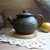 Чайники ручной работы. Ярмарка Мастеров - ручная работа Чайник гончарный+ подставка в подарок Яблочный штрудель.. Handmade.