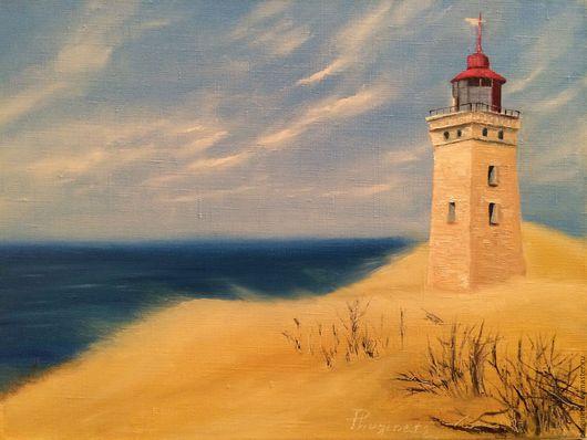 Пейзаж ручной работы. Ярмарка Мастеров - ручная работа. Купить Покинутый. Handmade. Комбинированный, маяк, песок, океан, подарок, масло