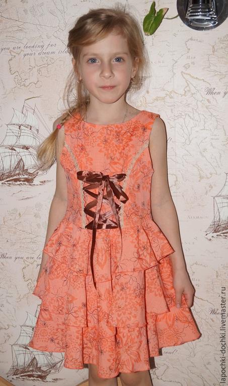Одежда для девочек, ручной работы. Ярмарка Мастеров - ручная работа. Купить платье для девочки Я самая...с оборками. Handmade. Коралловый