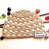 handmade. Livemaster - original item Children`s summer knitted hat mesh with beads. Handmade.