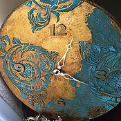 Для дома и интерьера ручной работы. Ярмарка Мастеров - ручная работа Часы настенные Бирюзовая Галактика. Handmade.