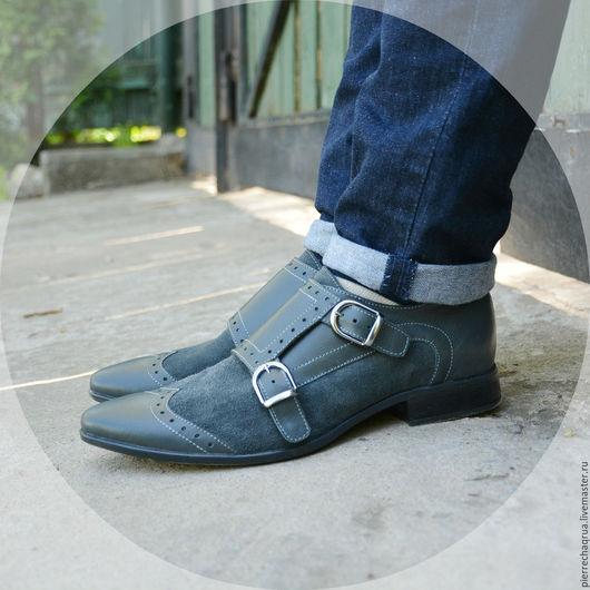 Обувь ручной работы. Ярмарка Мастеров - ручная работа. Купить Комбинированные мужские монки Pierre Chaqrua. Handmade. Серый, монки