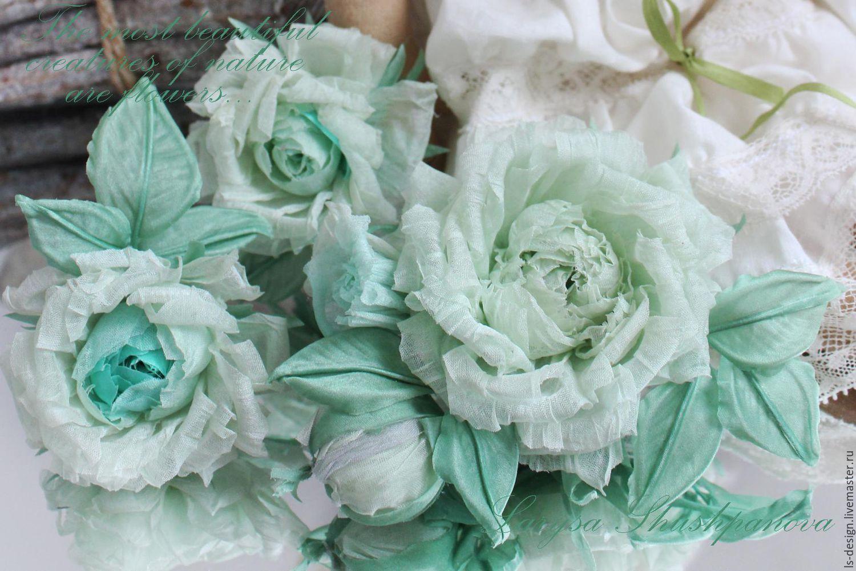 Брошь-букетик «Мятные розочки». Цветы из ткани, Брошь-булавка, Киев,  Фото №1