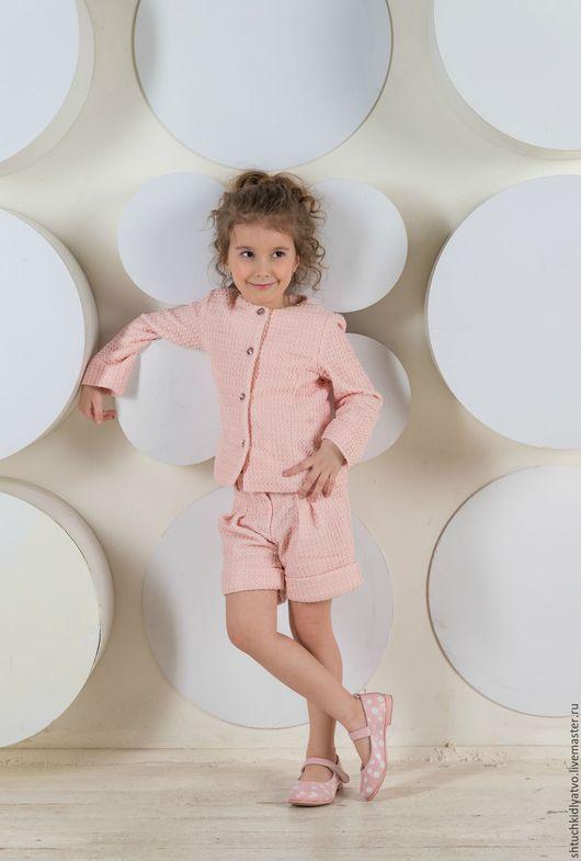 Одежда для девочек, ручной работы. Ярмарка Мастеров - ручная работа. Купить Элегантный персиковый костюм с шортами. Handmade. Комбинированный, шорты
