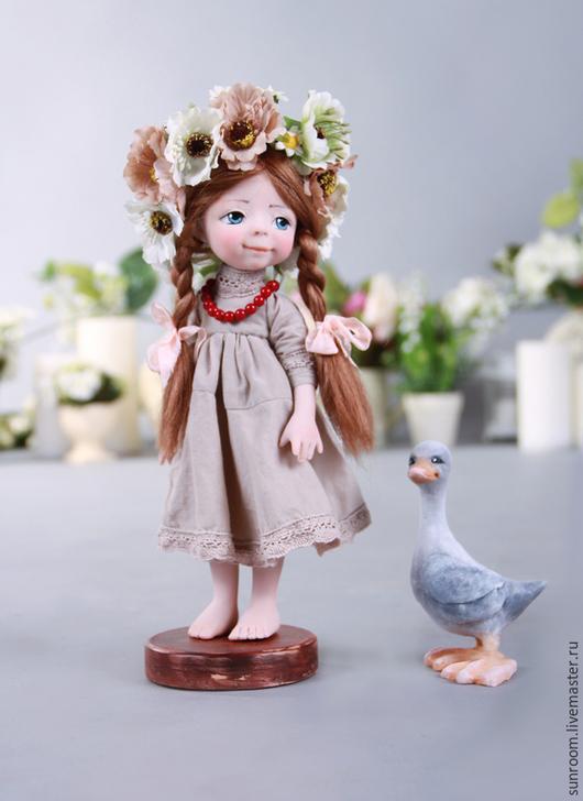 Коллекционные куклы ручной работы. Ярмарка Мастеров - ручная работа. Купить Наденька. Handmade. Девочка, цветы, серый, лён