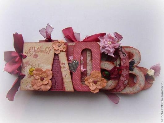 """Фотоальбомы ручной работы. Ярмарка Мастеров - ручная работа. Купить Альбом """"Любовь"""". Handmade. Альбом для фото, подарок, дизайнерская бумага"""