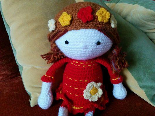 """Человечки ручной работы. Ярмарка Мастеров - ручная работа. Купить """"Кукла Юля"""". Handmade. Кукла в красном, вязаная галоша"""