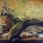 Картины и панно ручной работы. Ярмарка Мастеров - ручная работа Натюрморт с рыбами. Handmade.