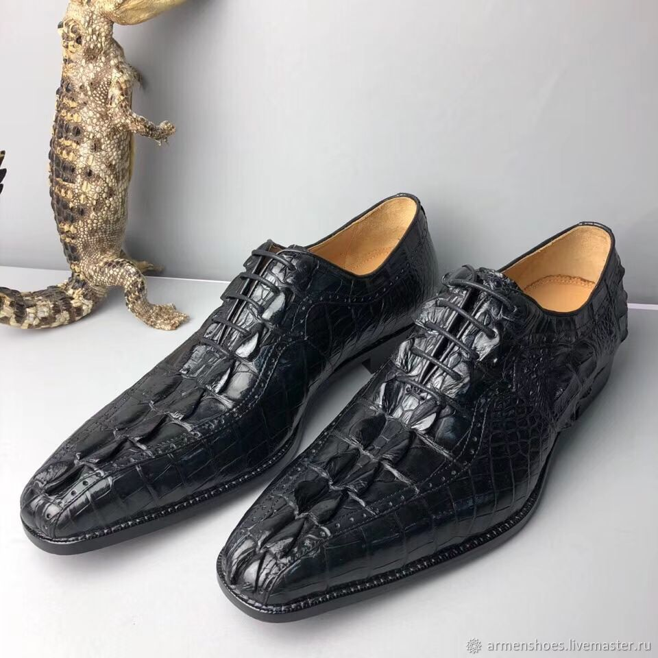 Oxfords with brogation, from the embossed part of crocodile skin!, Oxfords, Tosno,  Фото №1