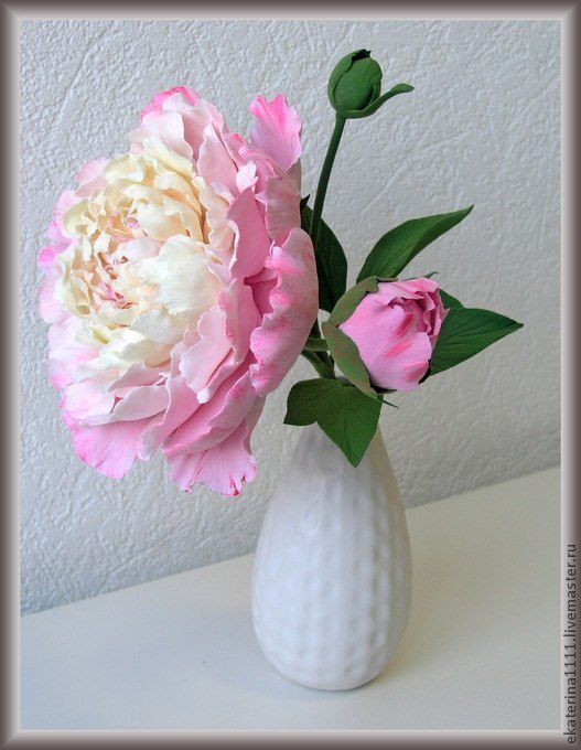 Цветы ручной работы. Ярмарка Мастеров - ручная работа. Купить Веточка пиона. Handmade. Бледно-розовый, цветы из полимерной глины