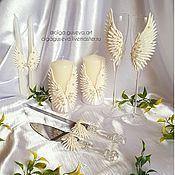 """Свадебный салон ручной работы. Ярмарка Мастеров - ручная работа Свадебный набор """"На крыльях счастья"""". Handmade."""
