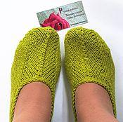 """Обувь ручной работы. Ярмарка Мастеров - ручная работа Вязаные тапочки-следки """"Весна"""" Хлопок. Handmade."""