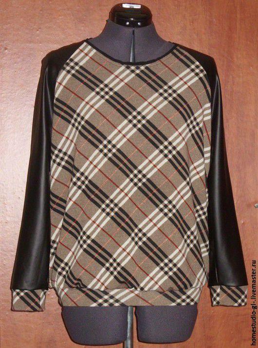 Кофты и свитера ручной работы. Ярмарка Мастеров - ручная работа. Купить Свитшот  и джемпер в клеточку. Handmade. Коричневый, Тренд сезона