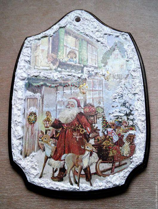 """Новый год 2017 ручной работы. Ярмарка Мастеров - ручная работа. Купить Панно """"Дед Мороз"""". Handmade. Белый, необычный подарок"""