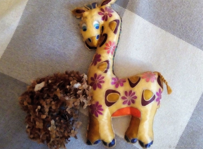 Nursery handmade. Livemaster - handmade. Buy Giraffe pillow,hand painted on satin, 36 x 25 cm.Handmade