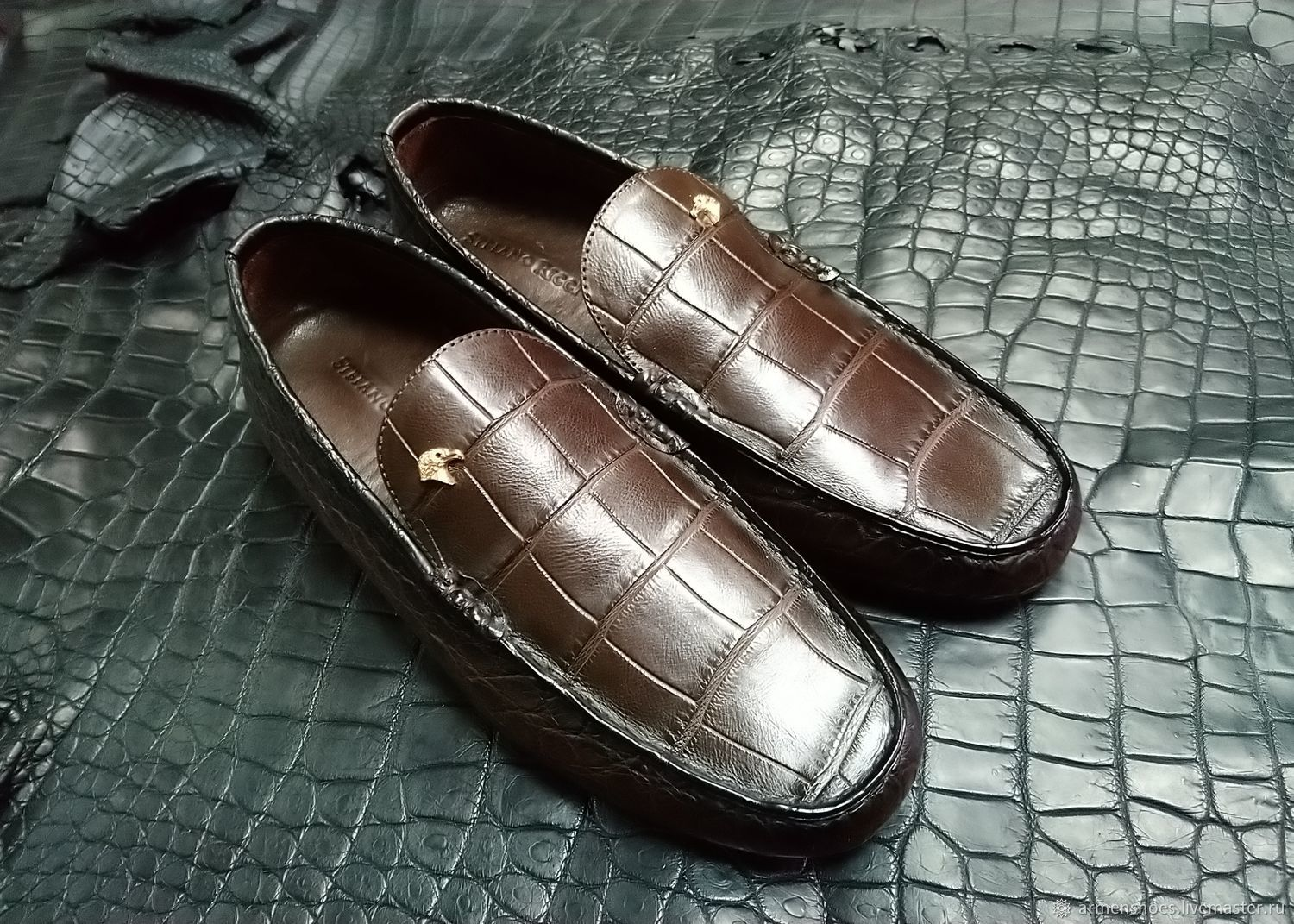 Men's moccasins made of genuine crocodile leather, handmade!, Moccasins, Tosno,  Фото №1