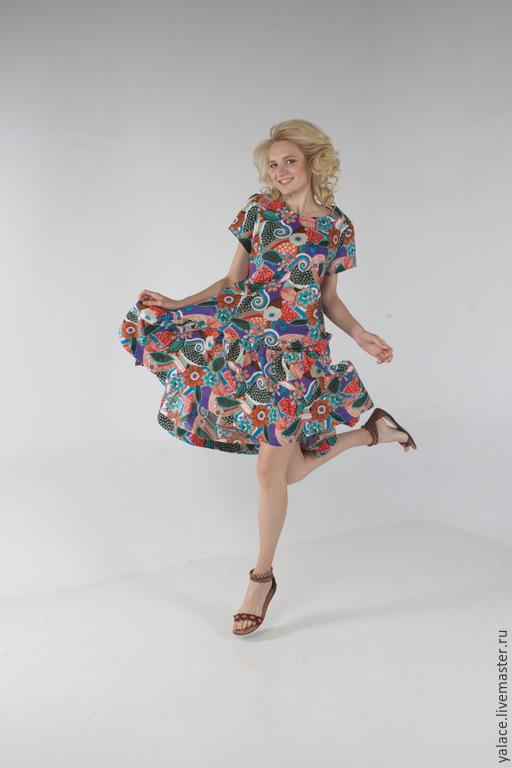 Свободное и комфортное платье доставит Вам истинное наслаждение на море,  прогулки с детьми и т.д. Свободный крой платья абсолютно не сковывает движений. Выполню до 60 размера!