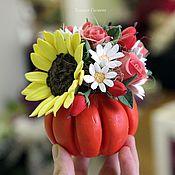 Цветы и флористика ручной работы. Ярмарка Мастеров - ручная работа Осенняя композиция в тыкве. Handmade.