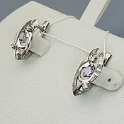 Украшения handmade. Livemaster - original item Silver earrings with amethysts and cubic zirconia. Handmade.