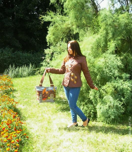 """Пиджаки, жакеты ручной работы. Ярмарка Мастеров - ручная работа. Купить """"Птица - осень""""  Стёганый жакет и сумка в технике квилтинг. Handmade."""