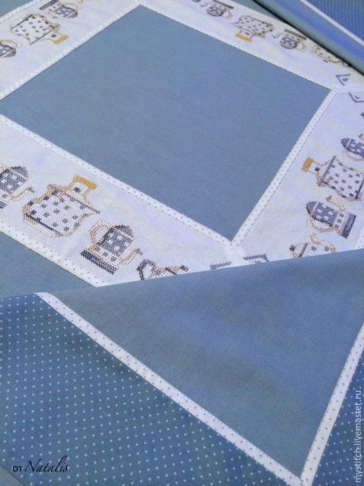 """Текстиль, ковры ручной работы. Ярмарка Мастеров - ручная работа. Купить Скатерть из голубого льна """"Чаепитие"""". Handmade. Скатерть, скатерти"""