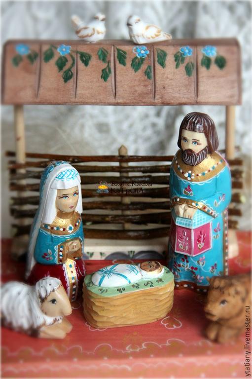 Новый год 2017 ручной работы. Ярмарка Мастеров - ручная работа. Купить Вертеп рождественский (деревянная резная миниатюра). Handmade. Вертеп