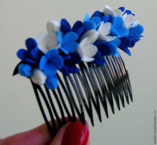 Заколки ручной работы. Ярмарка Мастеров - ручная работа. Купить Гребешок для волос. Handmade. Тёмно-синий, гребень, цветы в прическу