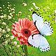 """Картины цветов ручной работы. Ярмарка Мастеров - ручная работа. Купить Схема для вышивания """"Цветок и бабочка"""". Handmade. Зеленый"""