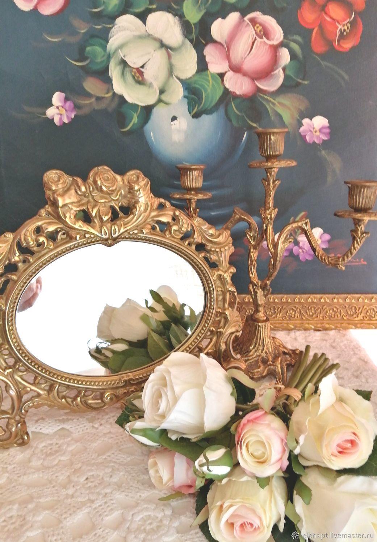 Винтаж: Винтаж Изумительное  бронзовое настольное зеркало, Предметы интерьера винтажные, Кастельон-де-ла-Плана,  Фото №1