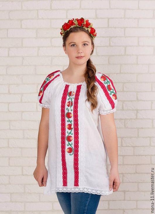 Блузки ручной работы. Ярмарка Мастеров - ручная работа. Купить Яркая туника, блуза вышивка бисер, размер 42-44. Handmade.