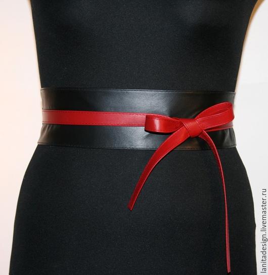 Пояса, ремни ручной работы. Пояс-кушак из кожи `Black Red MIX`. Lanita Design. Ярмарка Мастеров.