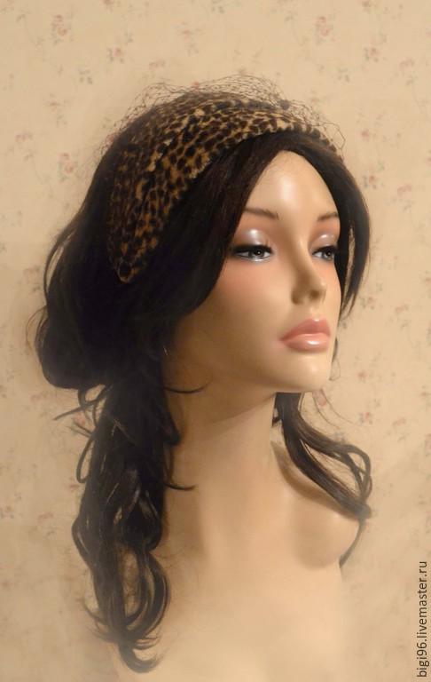 """Шляпы ручной работы. Ярмарка Мастеров - ручная работа. Купить Ободок """"Леопард"""". Handmade. Коричневый, шляпка женская, чешский велюр"""