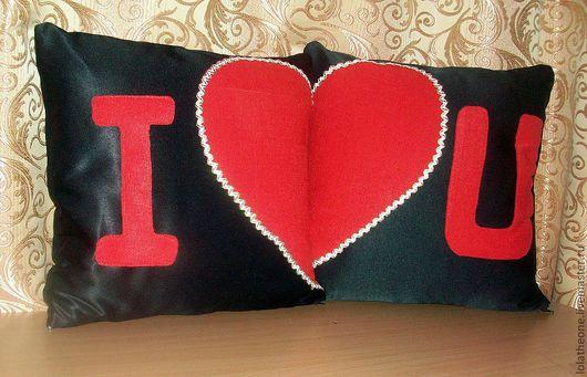 """Текстиль, ковры ручной работы. Ярмарка Мастеров - ручная работа. Купить Парные подушки """"I Love You"""". Handmade. Черный"""