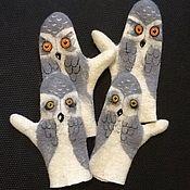 Аксессуары handmade. Livemaster - original item Mittens, Owls 3. Handmade.