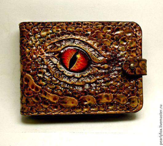 Кошельки и визитницы ручной работы. Ярмарка Мастеров - ручная работа. Купить Кожаный зажим для денег ручной работы Глаз дракона. Handmade.