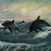 """Картины и панно ручной работы. Ярмарка Мастеров - ручная работа """"Дельфины"""". Handmade."""