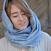 Шарф снуд, шарф-труба нежно голубой и серый весенний