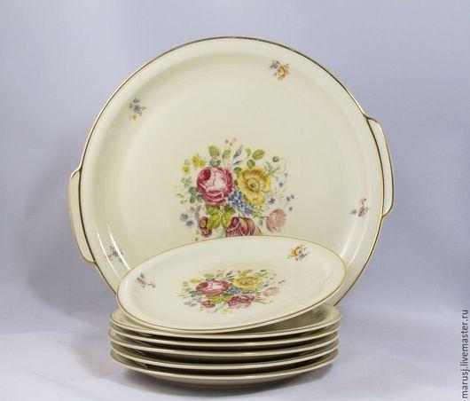 Винтажная посуда. Ярмарка Мастеров - ручная работа. Купить Набор тарелок для десерта. Handmade. Бежевый, фарфор