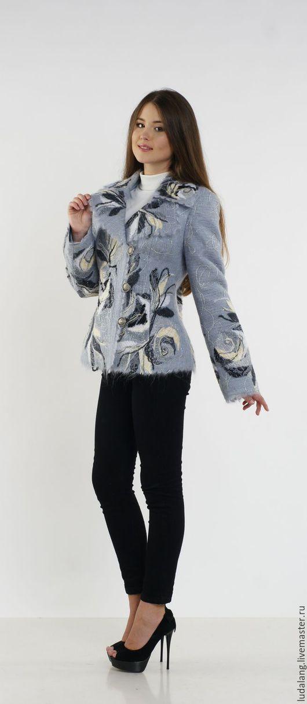 Пиджаки, жакеты ручной работы. Ярмарка Мастеров - ручная работа. Купить Жакет Черно-белые розы. Handmade. Серый