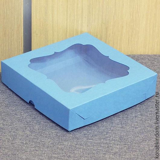 Упаковка ручной работы. Ярмарка Мастеров - ручная работа. Купить Коробка 16х16х3,5 крышка-дно голубая с окном. Handmade.