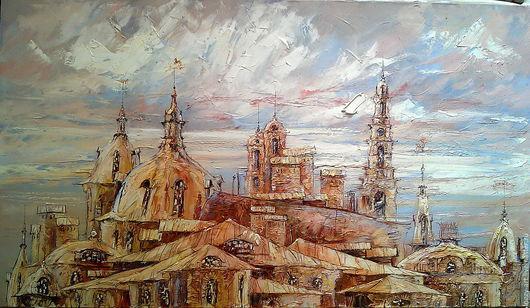 """Город ручной работы. Ярмарка Мастеров - ручная работа. Купить """"В городе дождь....   """". Handmade. Бежевый, старый город"""
