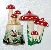 Сувениры и подарки handmade. Livemaster - original item Stump in assortment, with mushrooms, with Kolobok, magnet. Handmade.