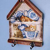 """Для дома и интерьера ручной работы. Ярмарка Мастеров - ручная работа Вешалка """"Без кота и жизнь не та"""". Handmade."""