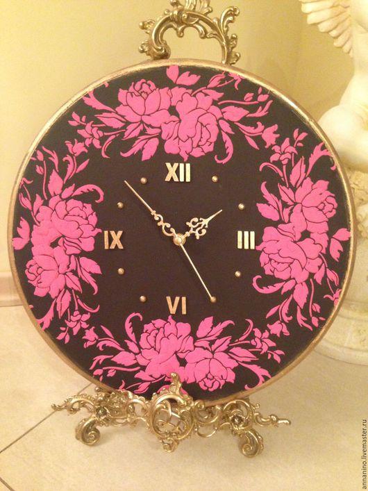 Часы для дома ручной работы. Ярмарка Мастеров - ручная работа. Купить Часы настенные Розы в шоколаде. Handmade. Розовый
