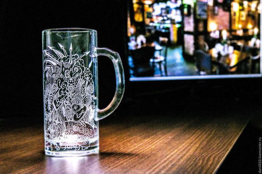 пивная кружка, дудлинг, гравировка стекла, подарок другу, молодежный стиль, любителю пива