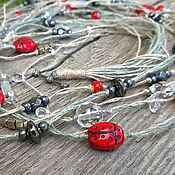 Украшения handmade. Livemaster - original item multilayered linen beads ladybugs boho gray red. Handmade.